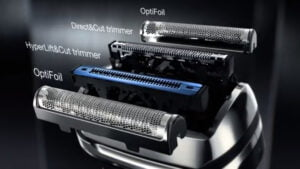 Braun 9 9095cc with 4 individual and specialized cutting elements that capture different types of hair.